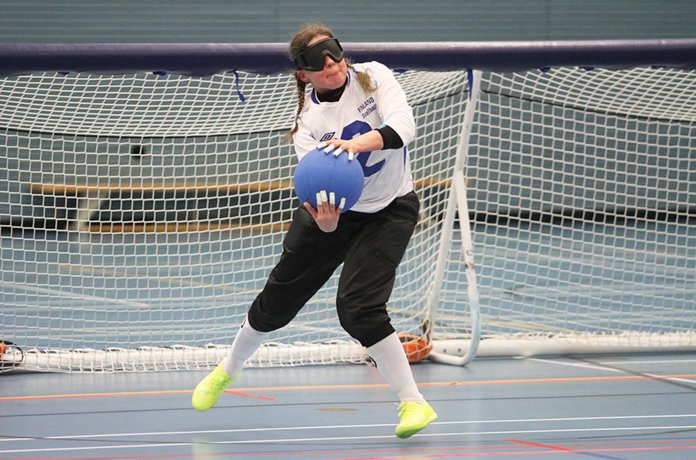 Kuva vuoden 2019 Pajulahti Gamesissa. Kuvassa Krista Leppänen heittämässä palloa.