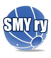 """Suomen Maalipalloyhdistys RY logo, sininen maalipallo valkoisella taustalla jonka päällä on teksti """"SMY ry"""""""